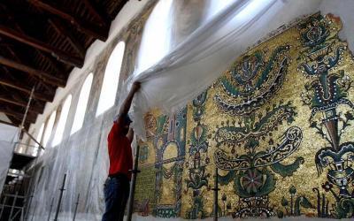 Church of Nativity Bethlehem Restoration Mosaics Angel